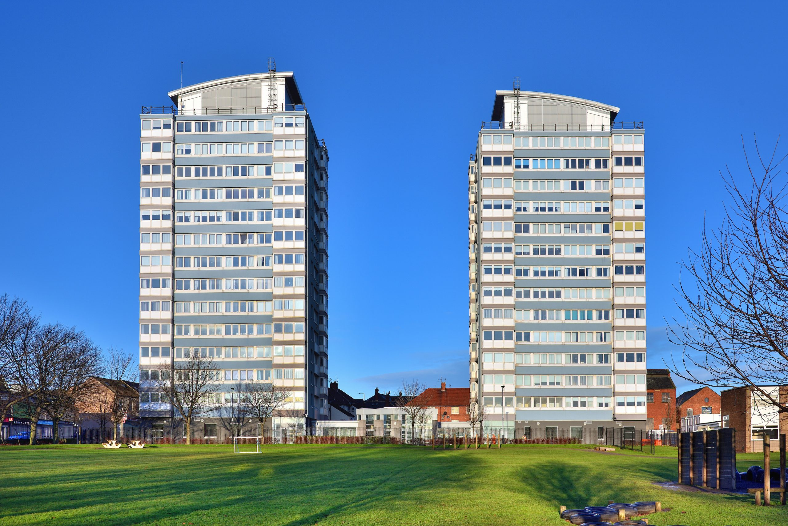 Tower blocks part of the Core 364 gas boiler replacement project in Sunderland
