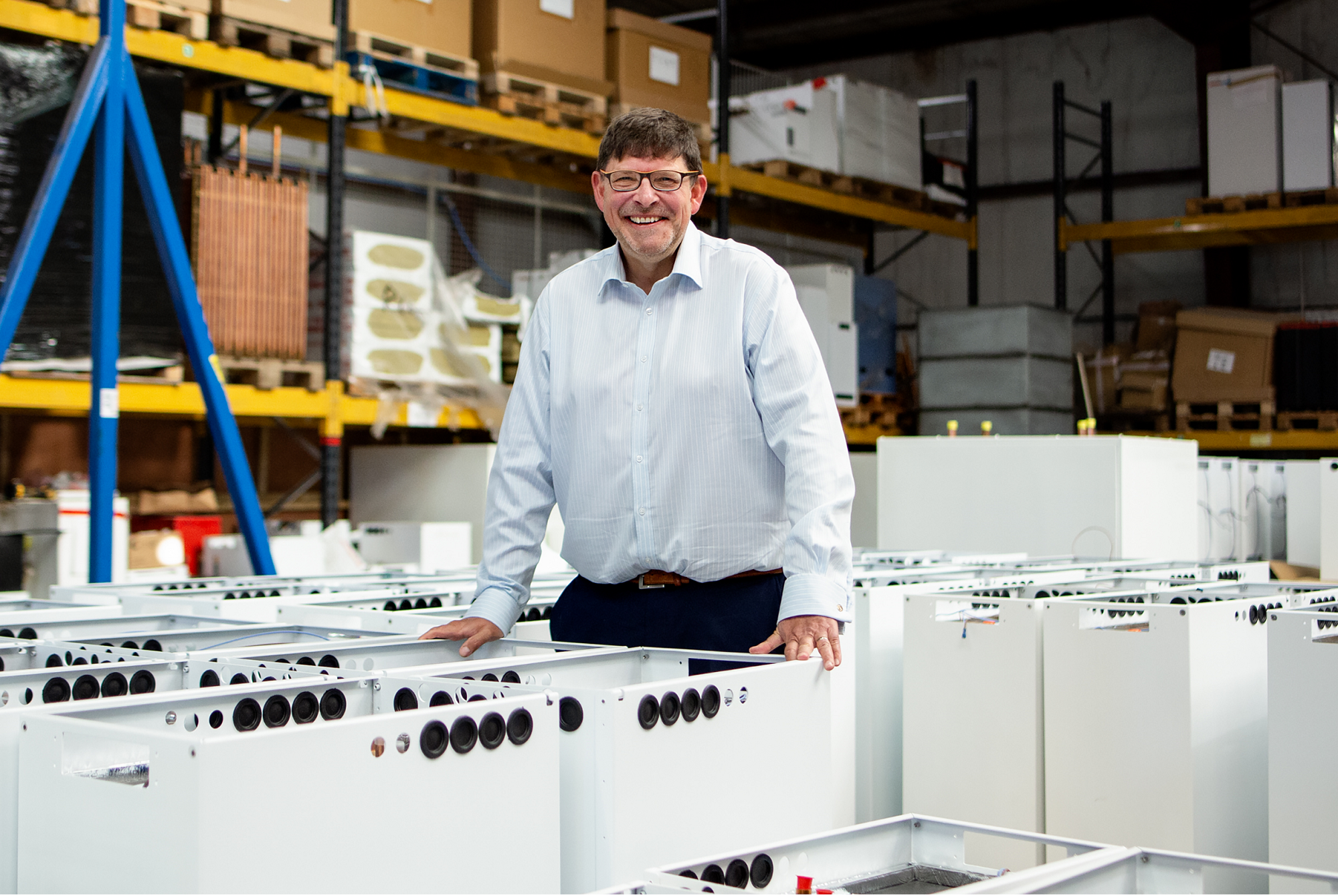 Sunamp CEO Andrew Bissell standing in the thermal battery factory near Edinburgh